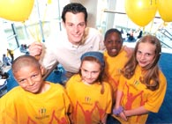 image of kids with Blue Peter presenter